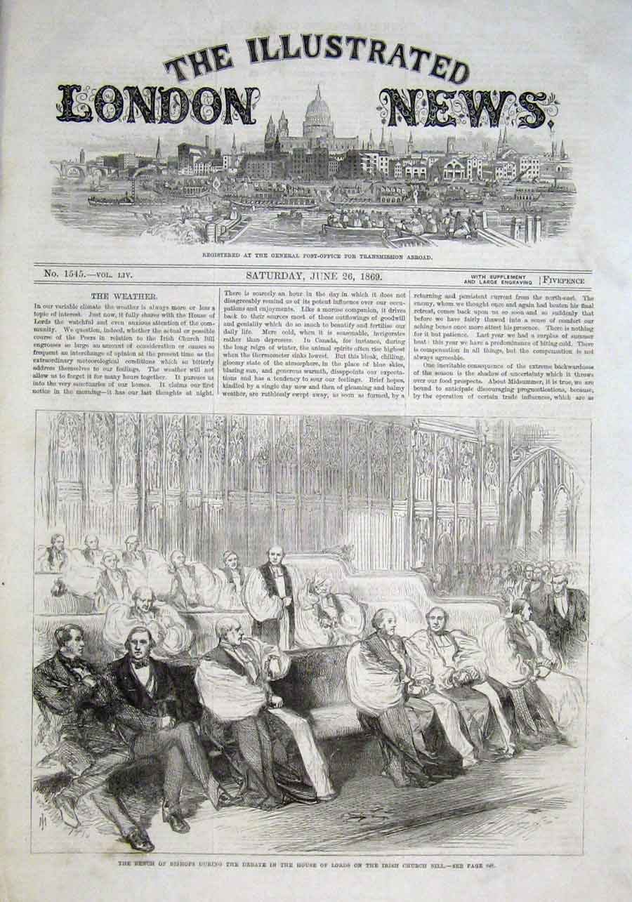 Print Bishops House Lords At Debate Irish Chruch Bill 1869 30Aaa0 Old Original