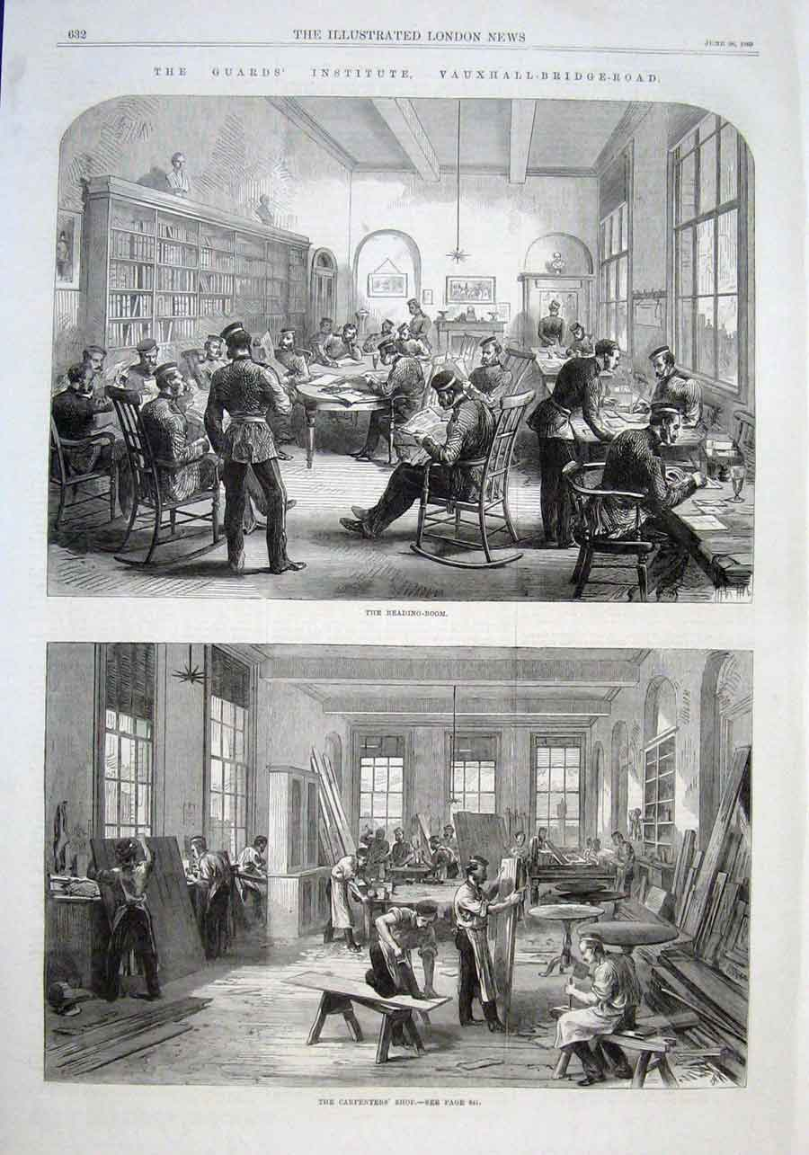 Print Reading Room Guards Institute Vauxhall Bridge Rd 1869 32Aaa0 Old Original