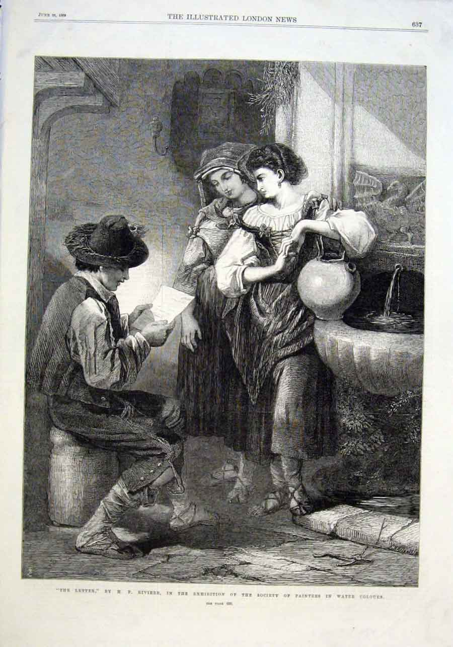 Print The Letter By Riviere 1869 Fine Art 37Aaa0 Old Original