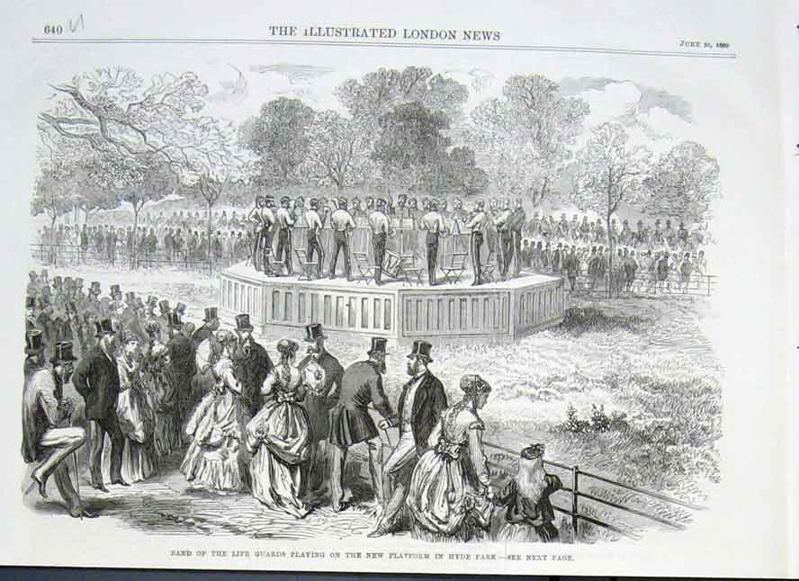 Print Band Life Guards In Hyde Park 1869 40Uaaa0 Old Original