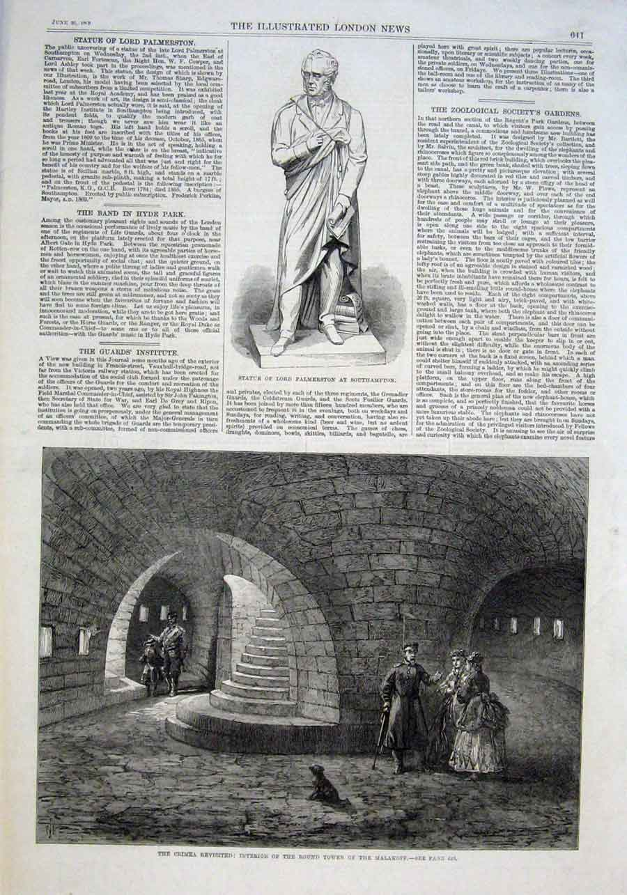 Print Interior Round Tower Malakoff Crimea Revistied 1869 41Aaa0 Old Original