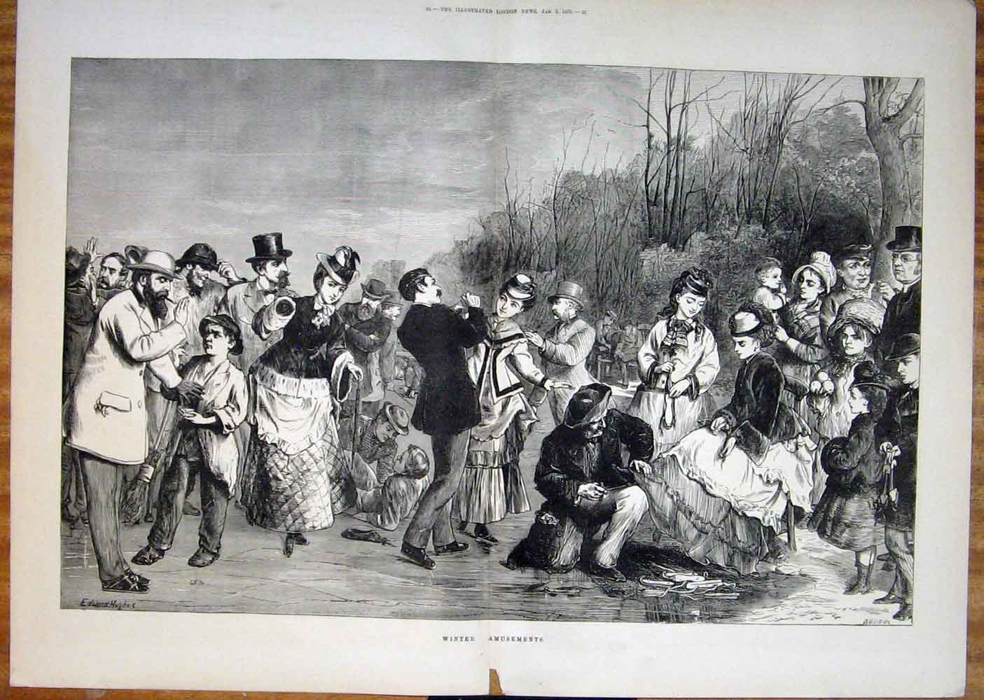 Print Winter Amusement People Ladies 1875 19Taaa0 Old Original