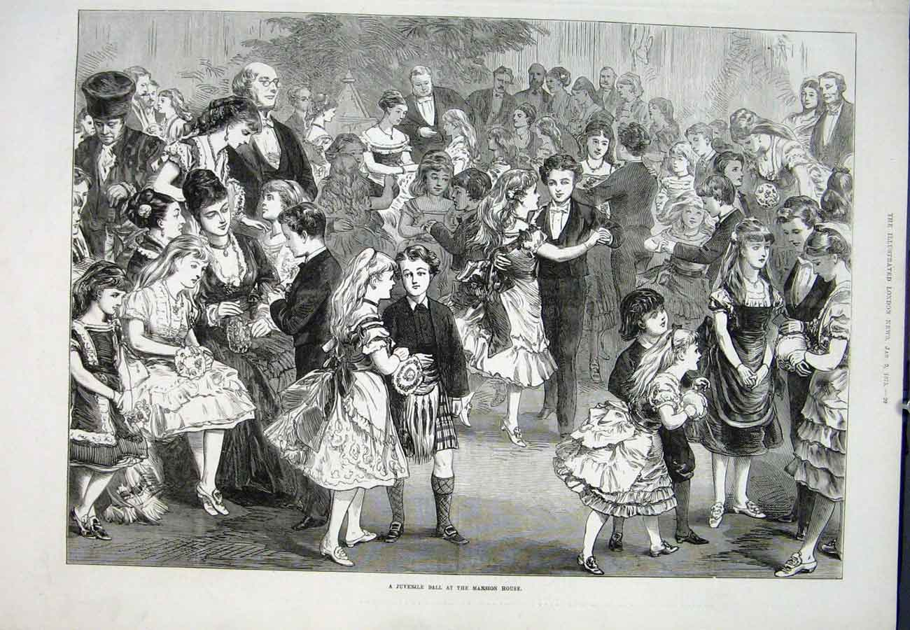 Print Juvenille Ball Mansion House 1875 29Aaa0 Old Original