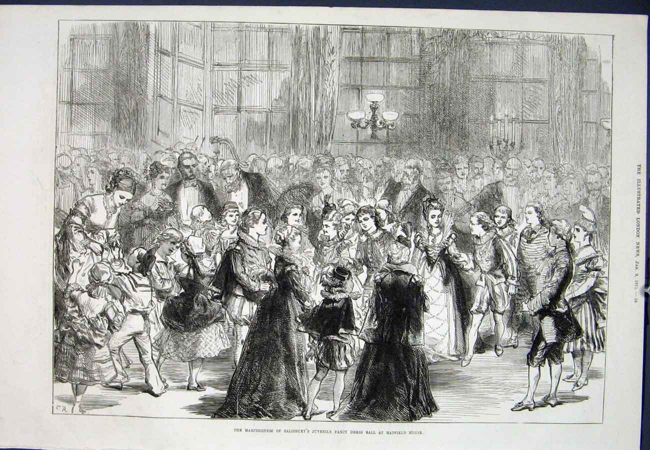 Print Salisbury Hatfield House Fancy Dress Ball 1875 36Aaa0 Old Original