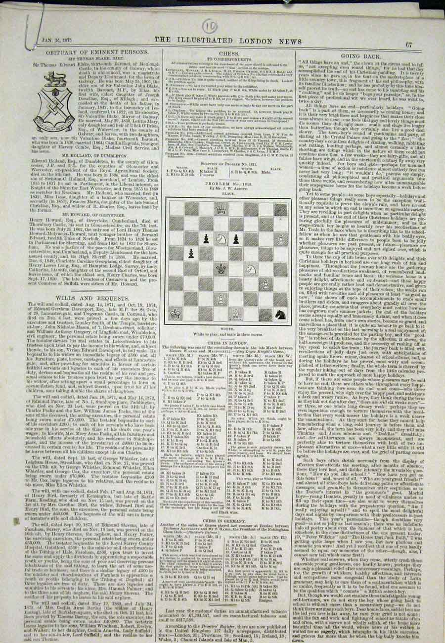 Print Chess Problems And Solutions 1875 67Aaa0 Old Original