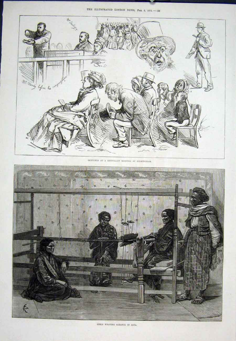 Print Birmingham Revivalist Java Girls Weaving 1875 27Aaa0 Old Original