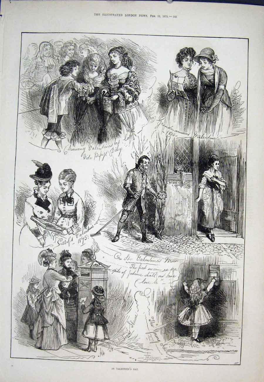 Print St Valentine'S Day Sketch 1875 45Aaa0 Old Original