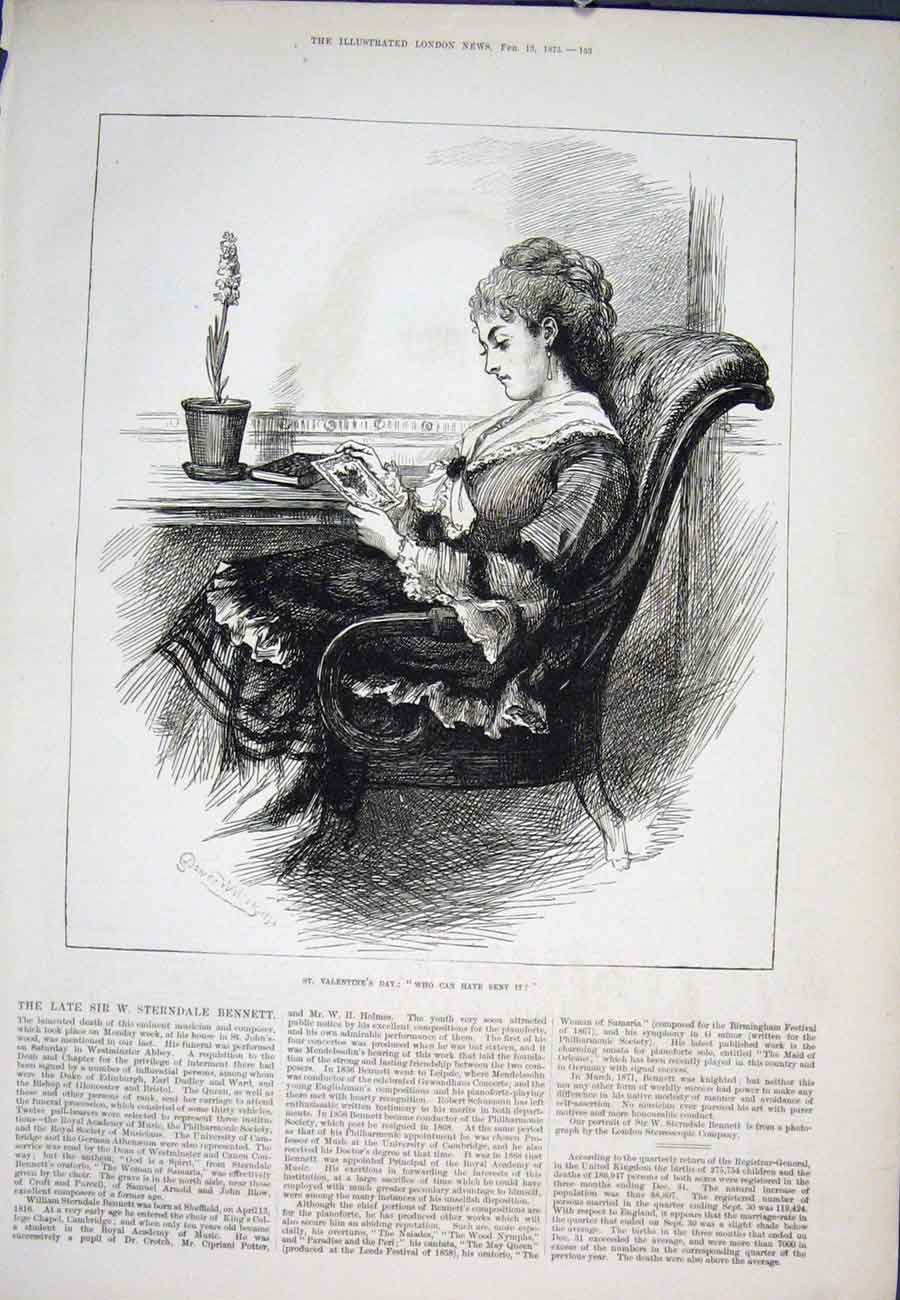 Print St Valentine'S Day Letter Lady 1875 53Aaa0 Old Original