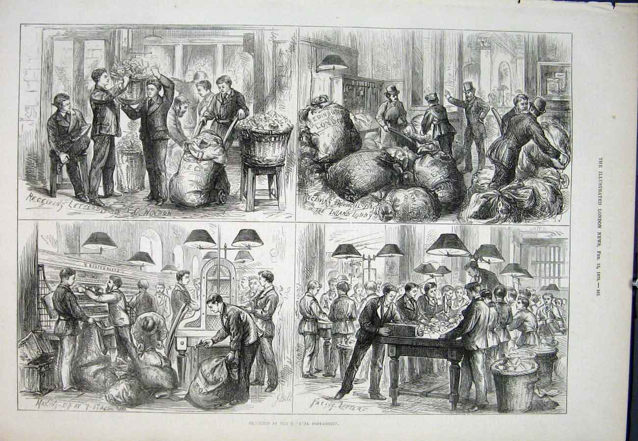 Print General Post Office Sketches 1875 61Aaa0 Old Original