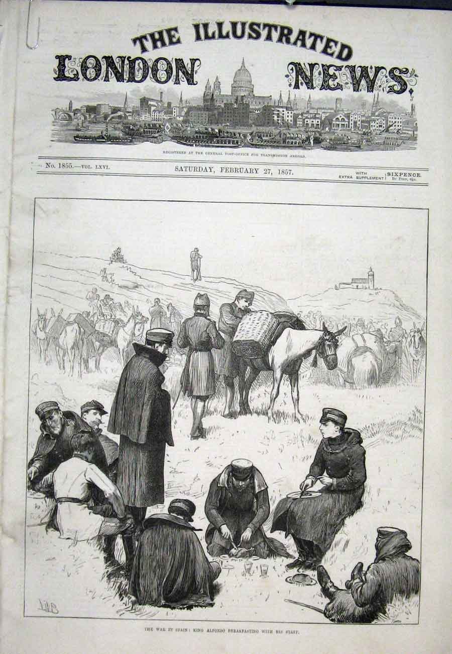 Print War Spain Alfonso Tafalla Railway Pueyo 1875 84Aaaa0 Old Original