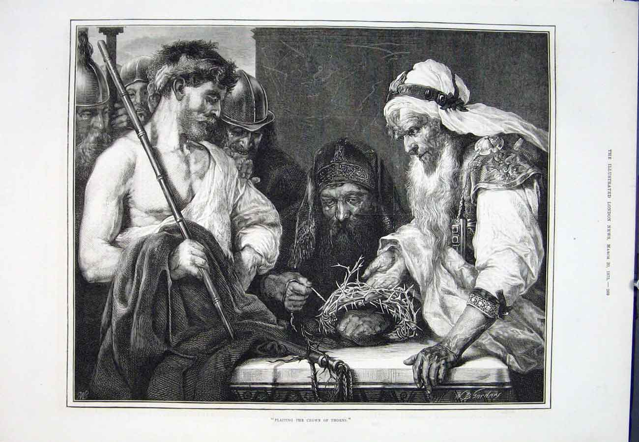 Print Jesus Christ Crown Thorns Plaiting 1875 69Aaa0 Old Original