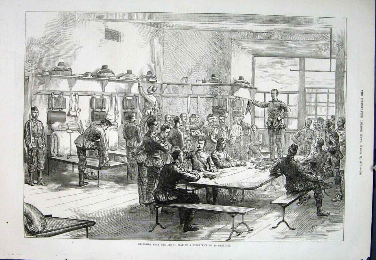 Print Desertion Army Barracks Kit 1875 92Aaa0 Old Original