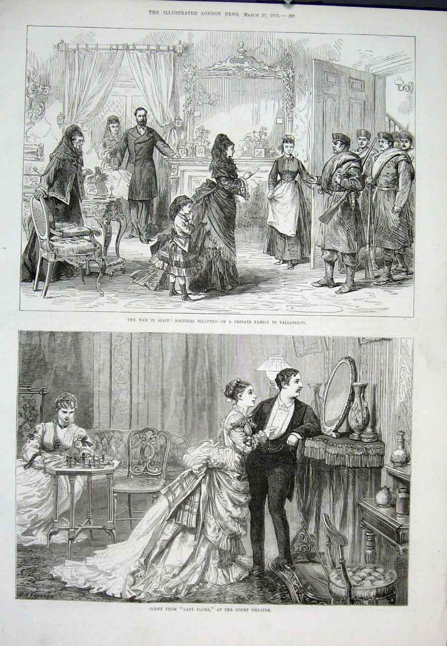 [Print Valladolid War Spain Soldiers Lady Flors Court Theatre 97Aaa0 Old Original]