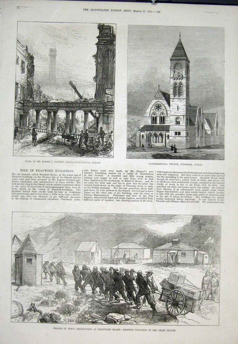 Print Kergeulen Island Beaufort Buildings Church Surrey 1875 05Aaa0 Old Original