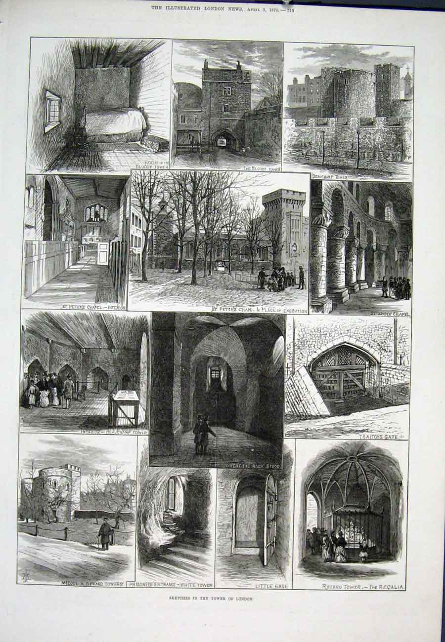 Print Sketches Tower London Traitors Beauchamp 1875 13Aaa0 Old Original