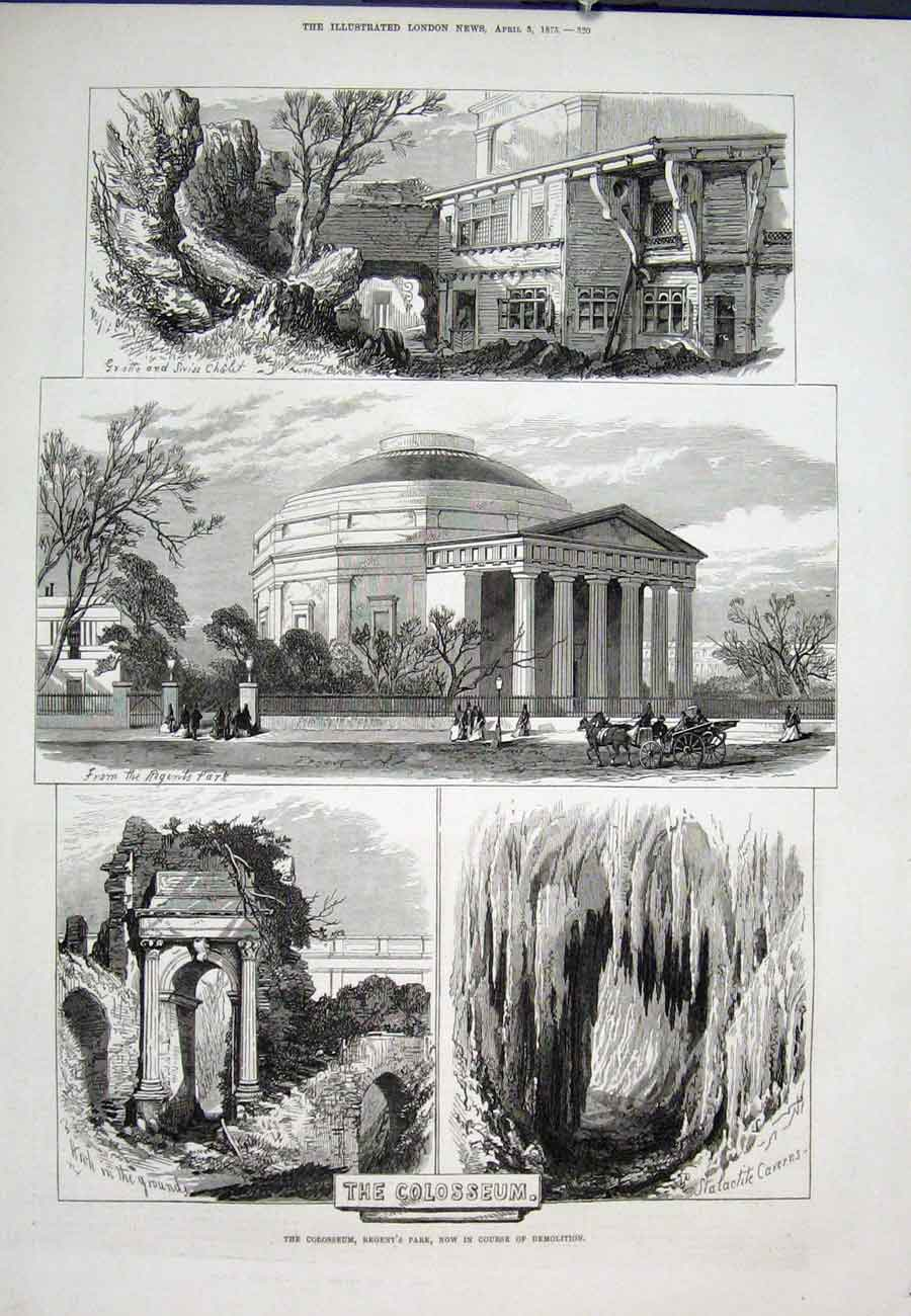 Print Colosseum Regent'S Park Demolition 1875 20Aaa0 Old Original