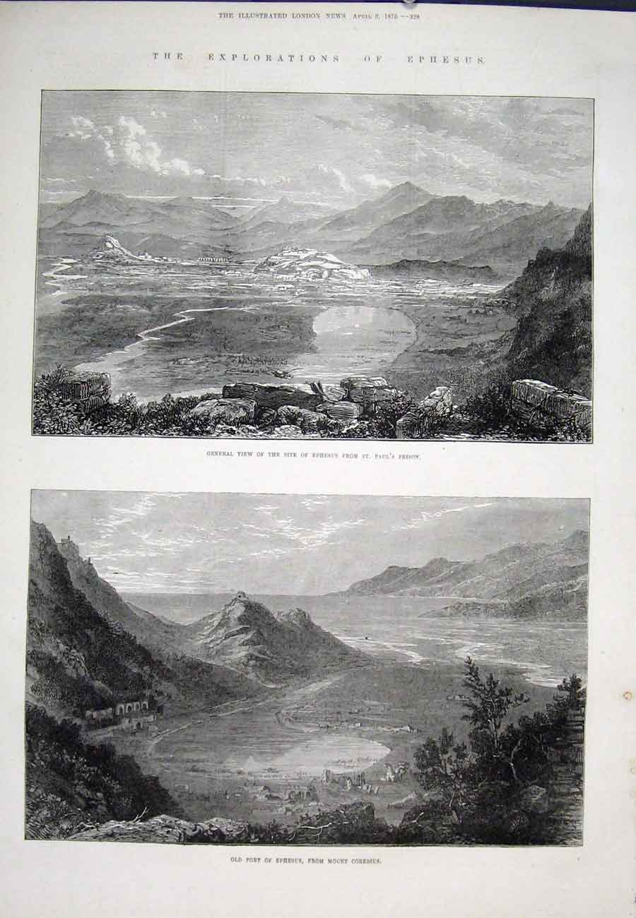 Print Exploration Epheus St Paul'S Prison Mount Coressus 1875 28Aaa0 Old Original