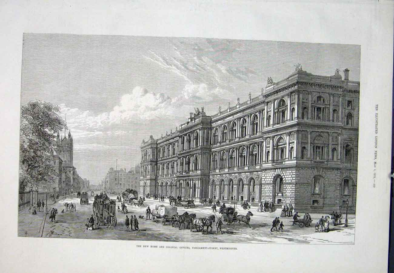 Print Westminster Colonial Offices Parliament Street 1875 09Aaa0 Old Original