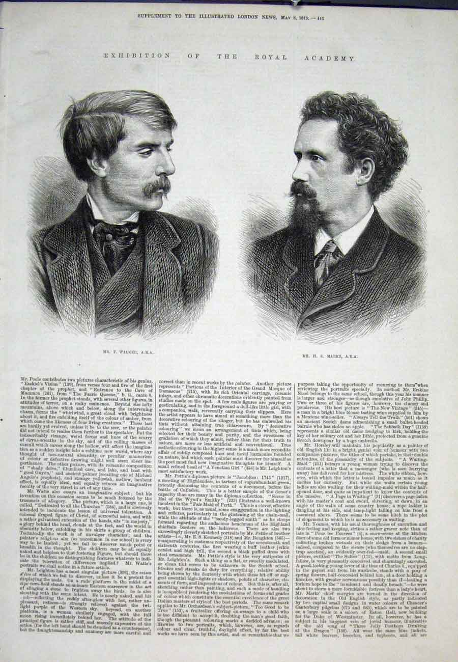 Print Portrait Walker Marks Ara Exhibition 1875 45Aaa0 Old Original