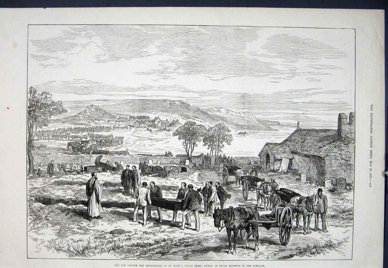 Print Scilly Isles Schiller Church Drowned 1875 12Aaa0 Old Original