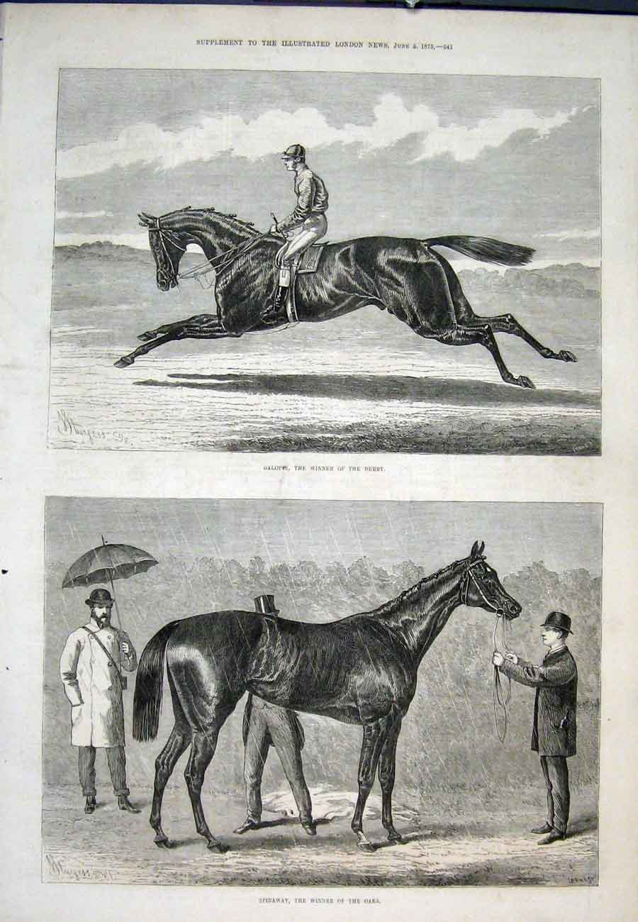 Print Galopen Derby Winner Spinaway Oaks 1875 41Aaa0 Old Original