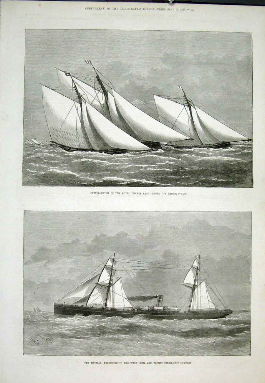 Print Cutter Match Thames Haytian Steam Ship Shoeburyness 65Aaa0 Old Original