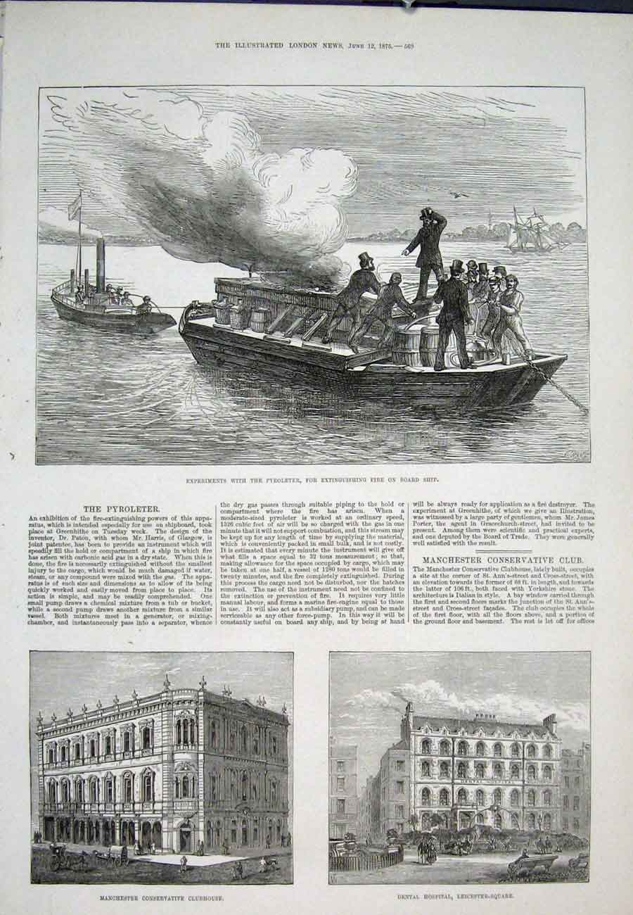 Print Pyroleter Fire Extinguisher Manchester Leicester Square 69Aaa0 Old Original