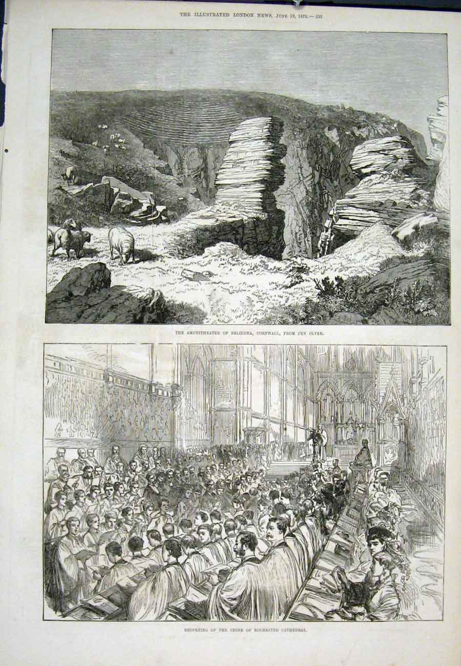 Print Beliddea Cornwall Pen Olver Rochester Cathedral 1875 93Aaa0 Old Original