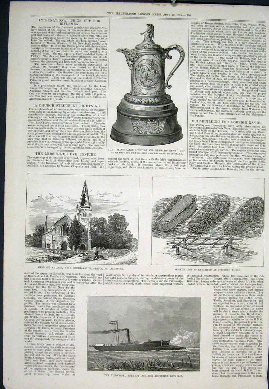 Print Bermejo Argentine Southampton Church Coffins Wicker 16Aaa0 Old Original