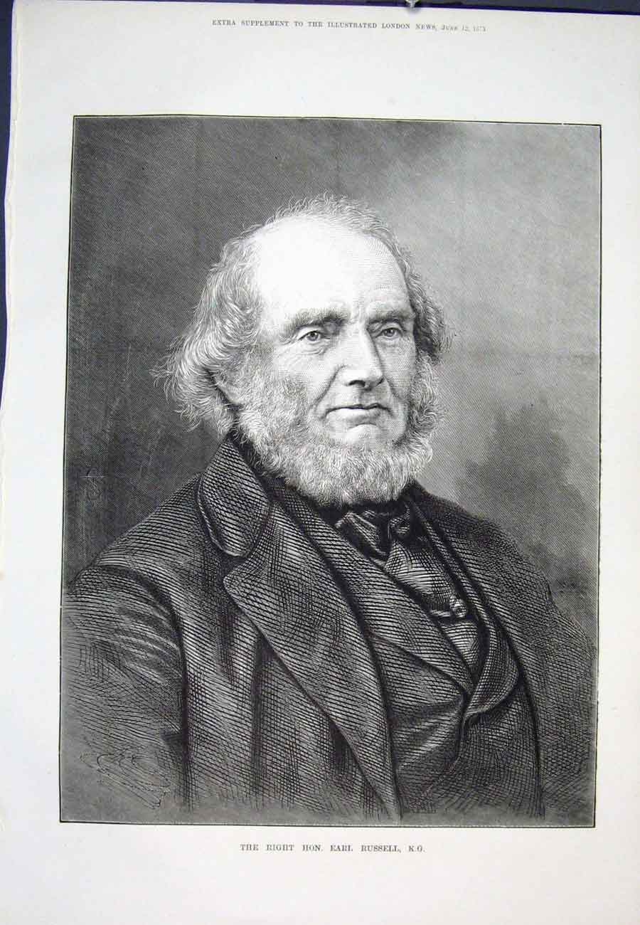 Print Portrait Russell 1875 08Aaa0 Old Original