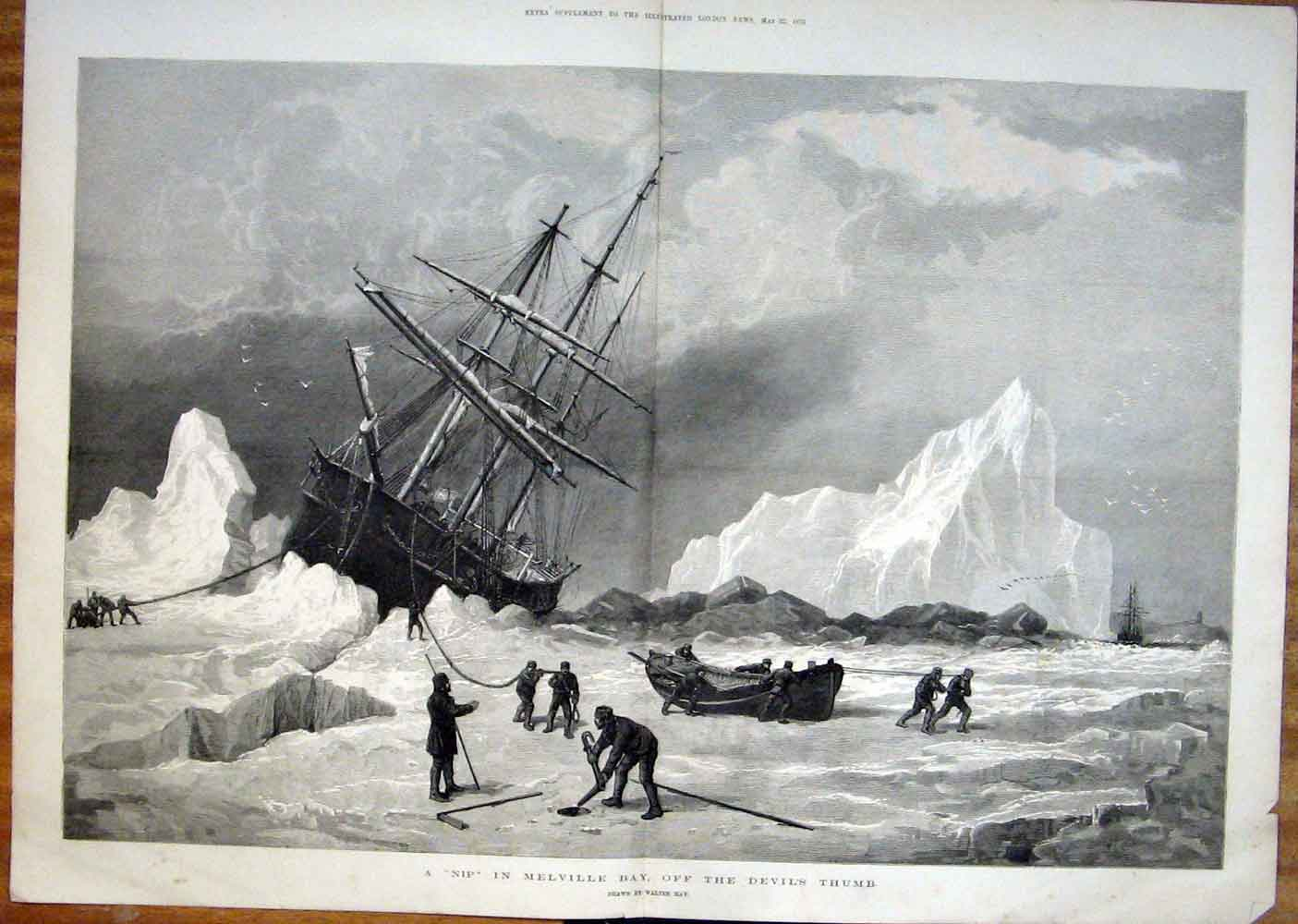 Print Walter May Melville Bay Devils Thumb 1875 52Taaa0 Old Original