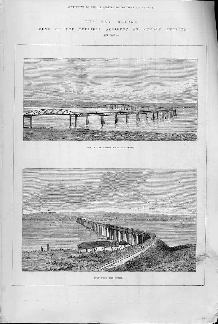Print Tay Bridge From North & South 1880 17Aaa0 Old Original
