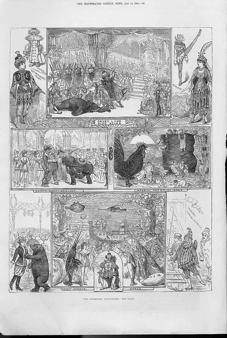 Print Christmas Pantomines 4 Theatres London 36Aaa0 Old Original