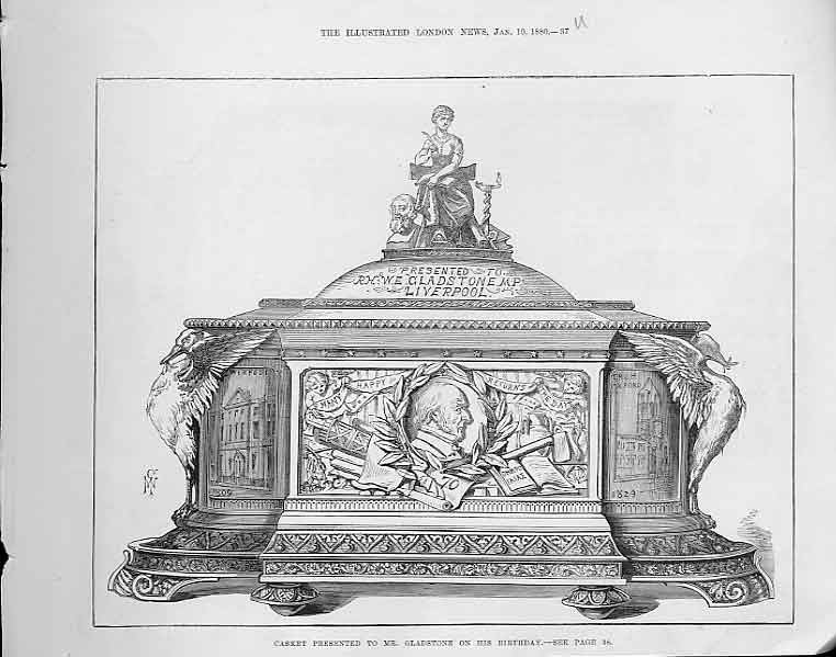 Print Casket Presented To Gladstone On His Birthday 1880 37Uaaa0 Old Original