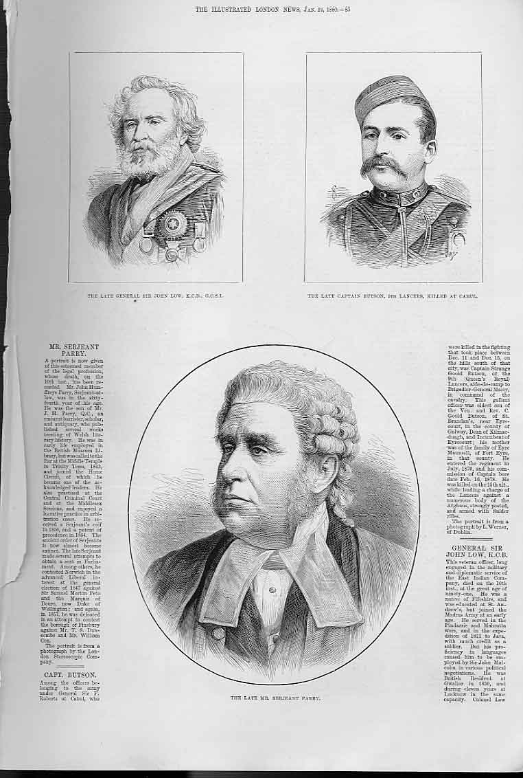 Print Portraits Low Butson Parry 1880 85Aaa0 Old Original