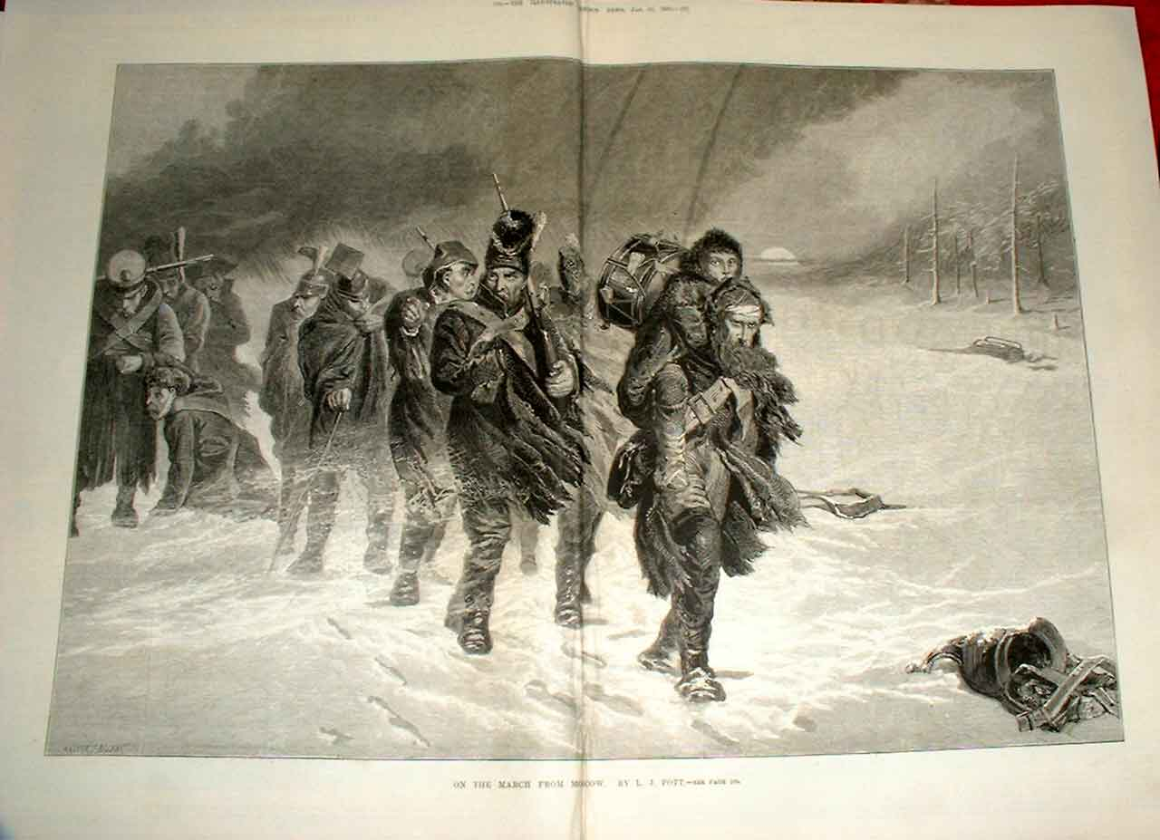 Print On The March From Moscow By Pott Fine Art 1880 Russia 03Taaa0 Old Original