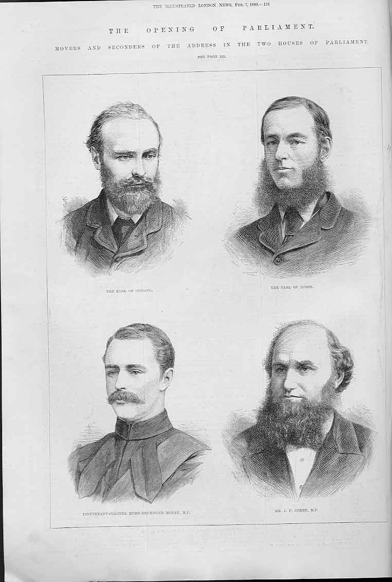 Print Portraits Onslow Earl Rosse Moray Corry 1880 24Aaa0 Old Original