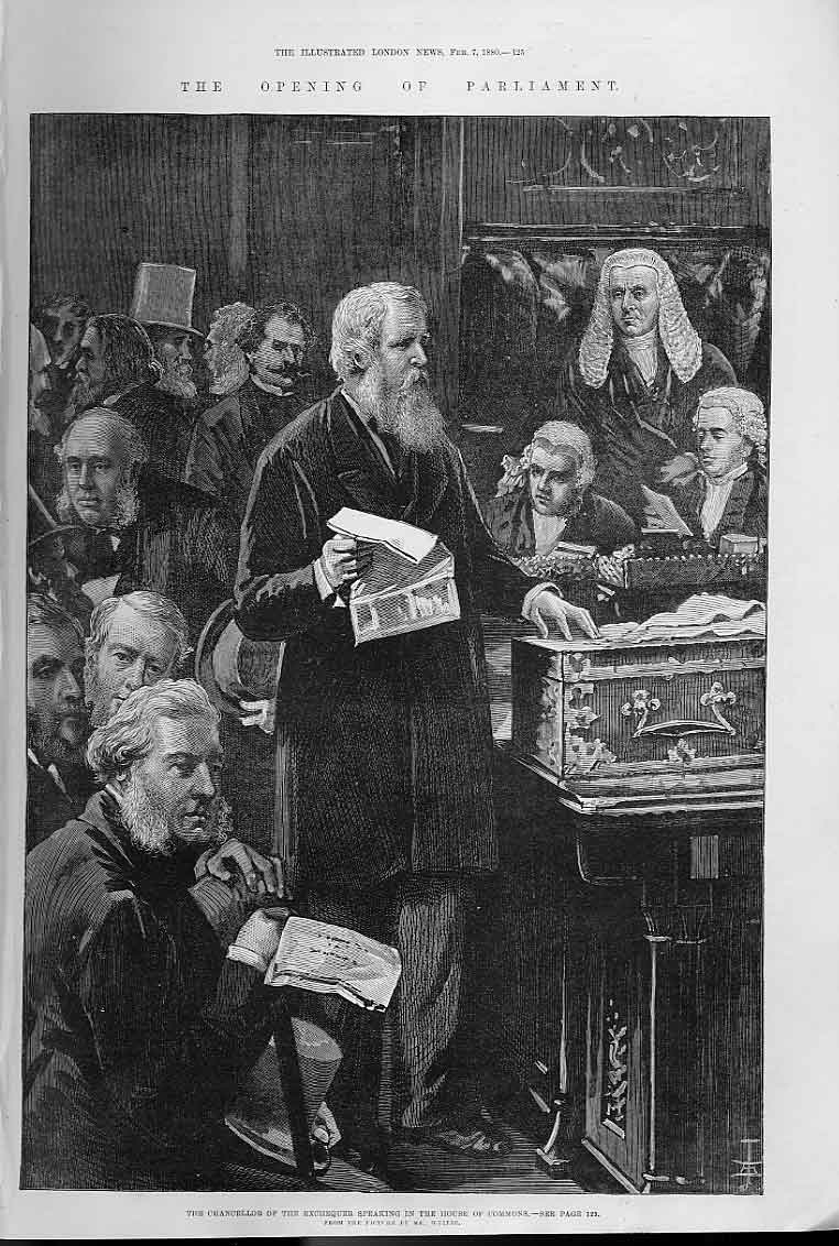 Print Portrait Chancellor Speaking House Commons 1880 25Aaa0 Old Original