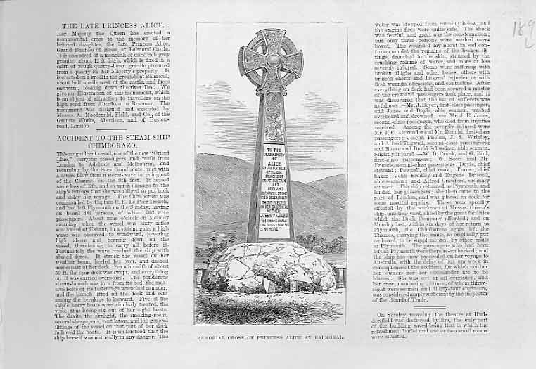 Print Memorial Cross Princess Alice Balmoral 1 89Laaa0 Old Original