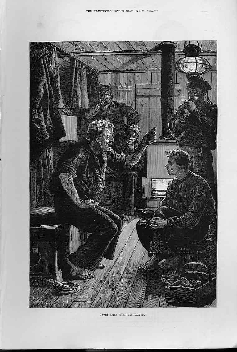 Print Forcastle Yarn Fine Art Ships 1880 97Aaa0 Old Original