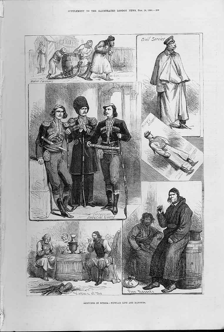 Print Popular Life & Manners Russia 1880 09Aaa0 Old Original