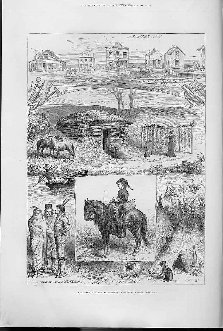 Print Sketches Newe Settlement Minnesota 1880 20Aaa0 Old Original