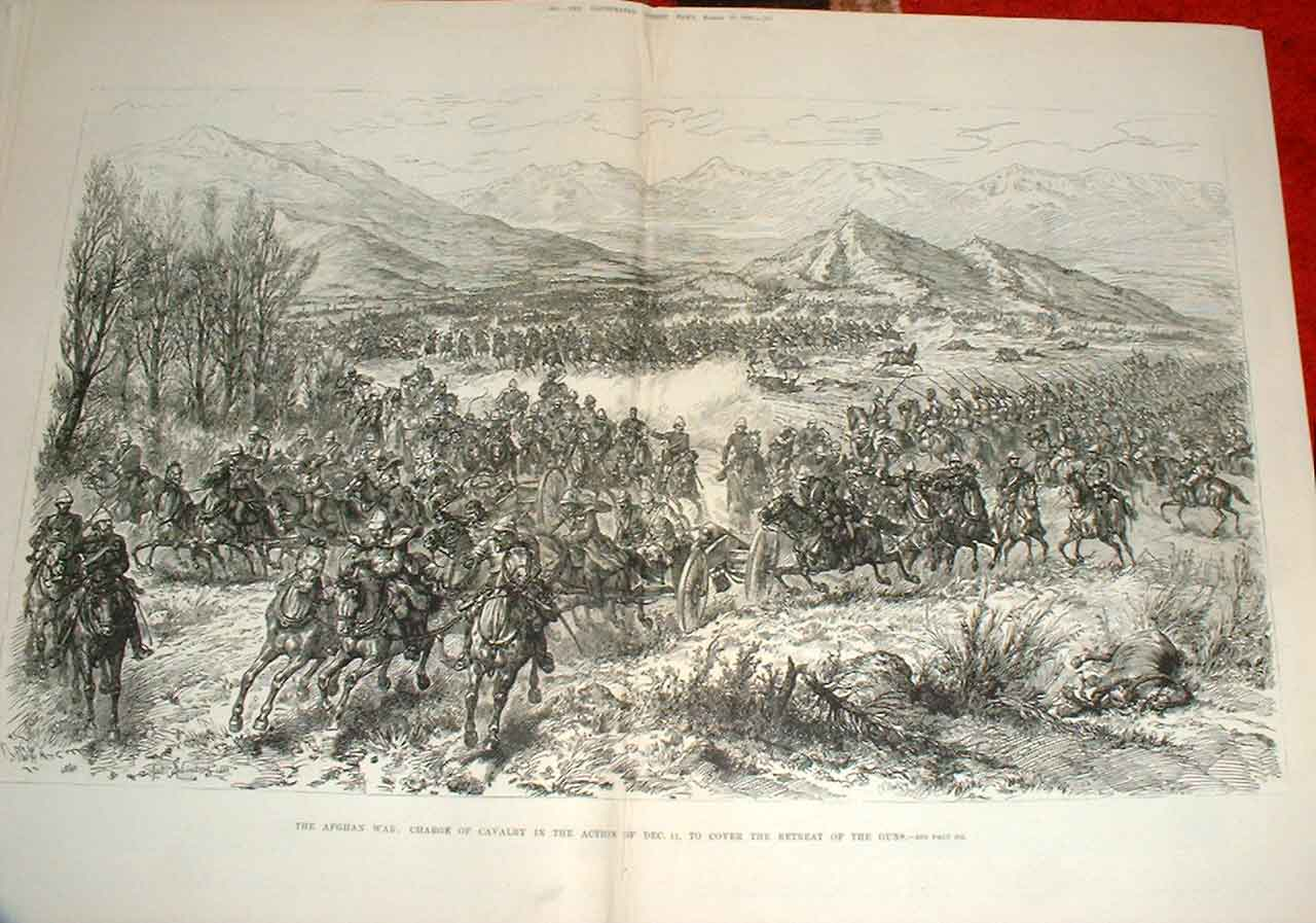 [Print Cavalry Charge To Cover Gun Retreat Afghan War 1880 59Taaa0 Old Original]