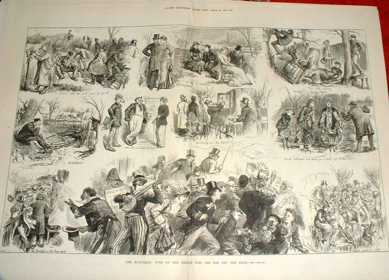 Print Boat Race People Who Did Not See The Race 1880 71Taaa0 Old Original