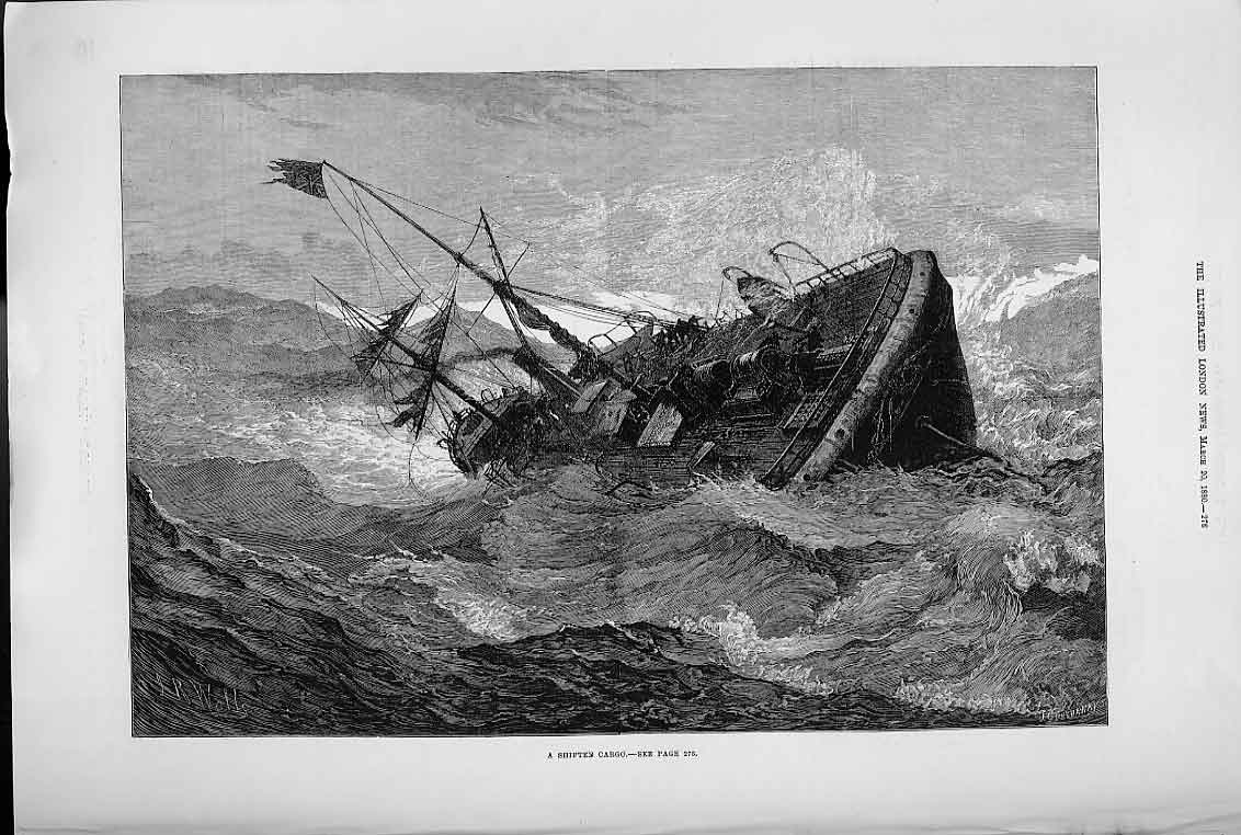 Print Shifting Cargo 1880 Ship In Trouble 76Aaa0 Old Original