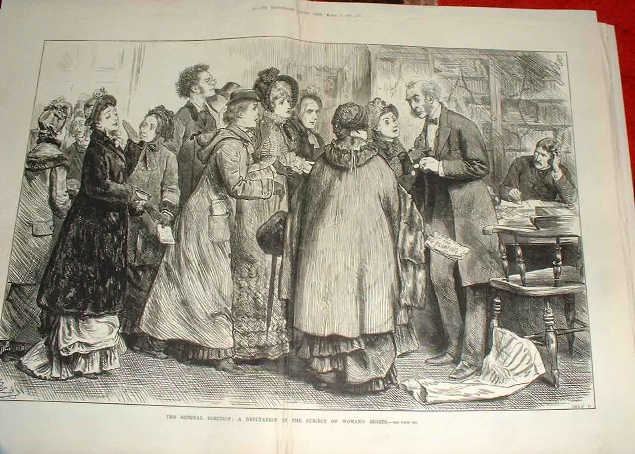 Print Deputation Womens Rights General Election 1880 95Taaa0 Old Original