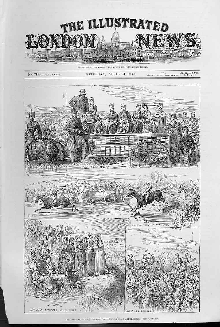 Print Regimental Steeplechase Aldershott 1880 86Aaa0 Old Original