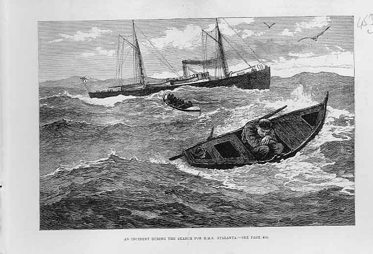 Print Man Adrift While Searching Hms Atalanta 1880 Ships 53Laaa0 Old Original