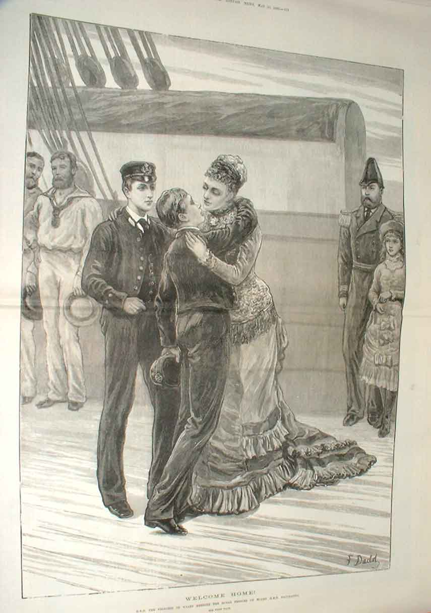 Print Royal Welcome Home Princes On Hms Bacchante 1880 71Taaa0 Old Original