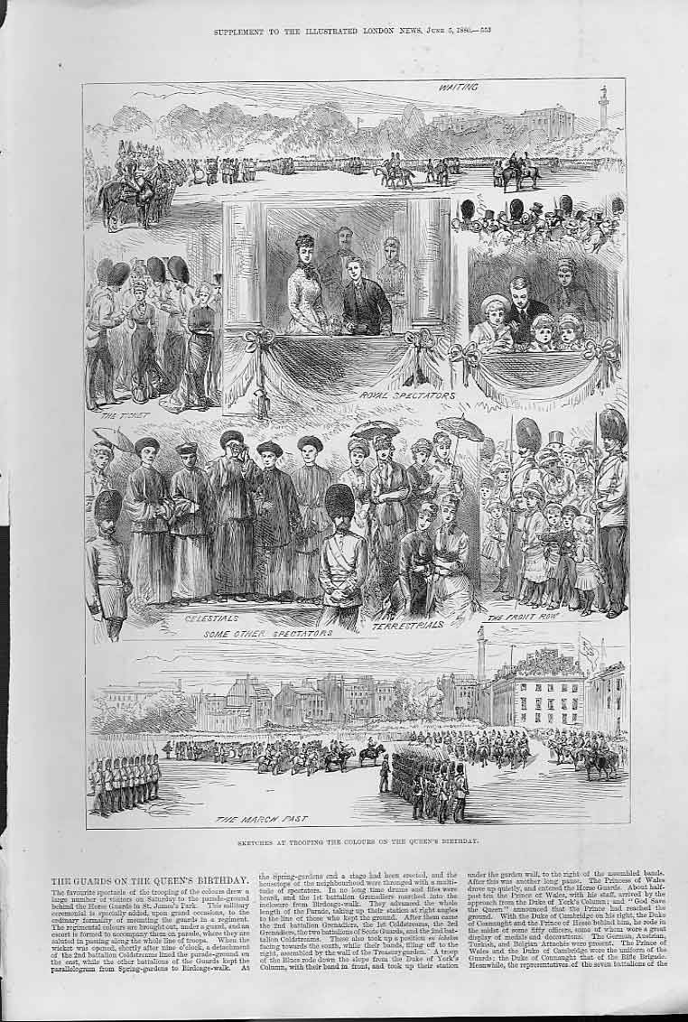 Print Guards On Queens Birthday Parade 1880 53Aaa0 Old Original